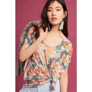 AKEMI + KIN Floral Knotted & Dyed Tunic Top